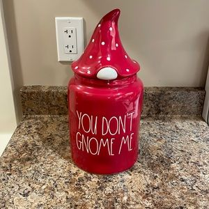 Rae Dunn Red You Don't Gnome Me Large Christmas Canister